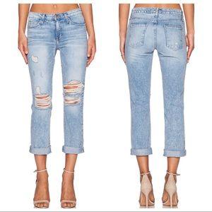 Current Elliott Highwaist Straight Destroyed Jeans